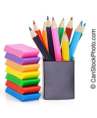 Erasers and pencils