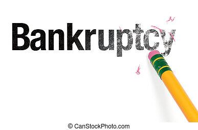 Erasing Bankruptcy - Close up of a yellow pencil erasing the...