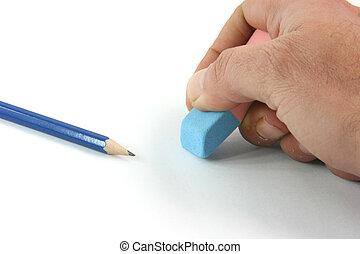 erasing closeup - business concepts closeup erasing mistakes...