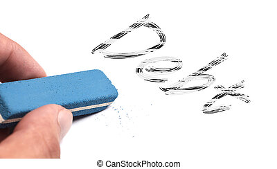 Debt text is erased by a blue eraser which is held by hand.