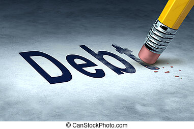 Erasing debt concept with a pencil and eraser eliminating the icon for owing money in credit cards or car payments and mortgages and managing a solution out of bankrupcy and into financial success.