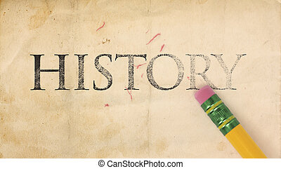 Erasing History - Close up of a yellow pencil erasing the...