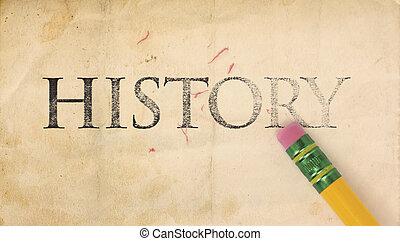 Erasing History - Close up of a yellow pencil erasing the...