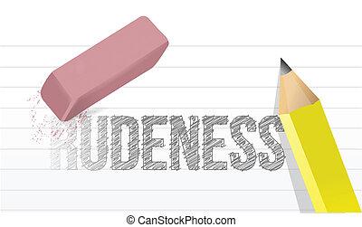 erasing rudeness concept illustration design over a white ...