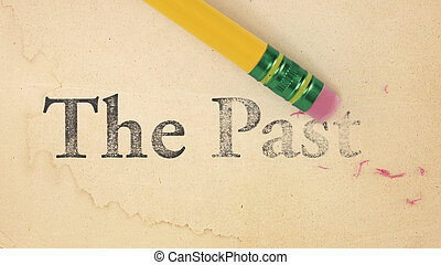Erasing The Past - Close up of a yellow pencil erasing the...