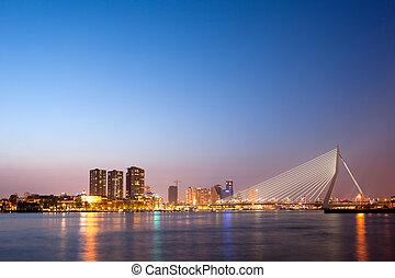 Erasmus Bridge in Rotterdam at Dusk - Erasmus Bridge at...