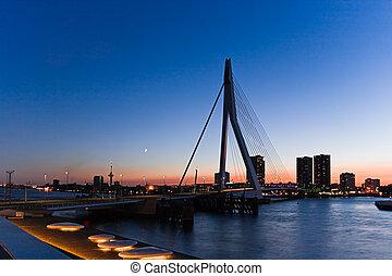 Erasmus bridge Rotterdam after sunset