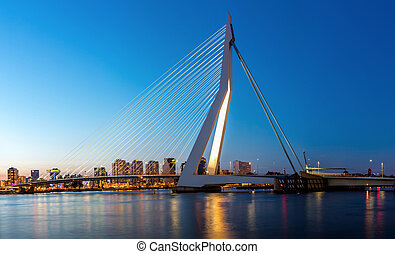 Erasmus bridge Rotterdam panorama