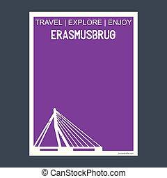 Erasmusburg Rotterdam, Netherlands  monument landmark brochure Flat style and typography vector