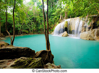 Eravan Waterfall - Deep forest Waterfall in Thailand