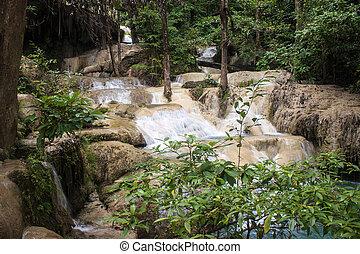erawan, cachoeira, em, tailandia