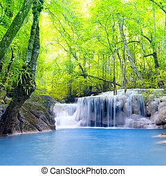 erawan, cachoeira, em, thailand., bonito, natureza, fundo
