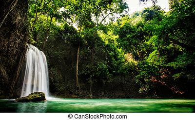 erawan, cascata, cinque, livello