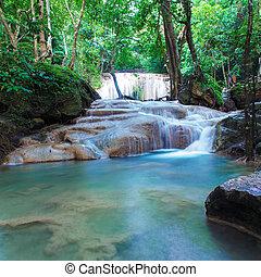 erawan, cascata, foresta, profondo