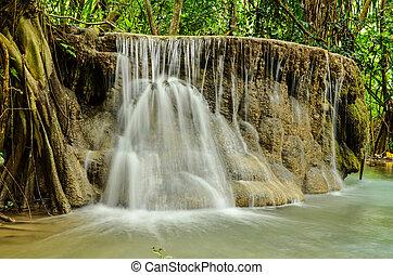 Erawan Falls, Kanchanaburi in Thailand.
