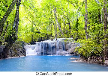 erawan, vízesés, alatt, thailand., gyönyörű, természet,...