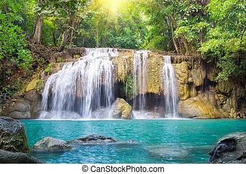 Erawan waterfall 2nd level, attraction of Kanjanaburi province in Thailand.