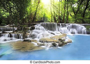 Erawan Waterfall in Kanchanaburi Province - Second level of...