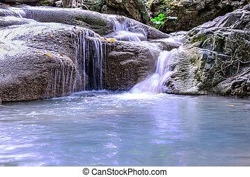 Erawan waterfall in national park, Kanchanaburi, Thailand.