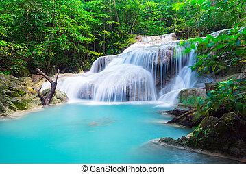 Erawan Waterfall in tropical forest