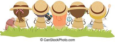 erba, bambini, stickman, esploratore, illustrazione
