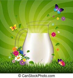 erba, brocca, latte