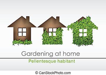 erba, casa, mattone