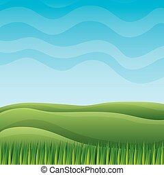 erba, cielo, colline, paesaggio, natura