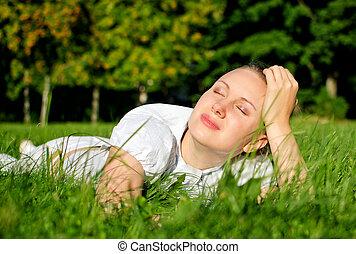 erba, donna, parco, giovane, rilassante