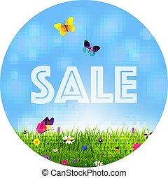 erba, e, fiori, vendita, palla