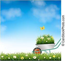 erba, giardino, carriola