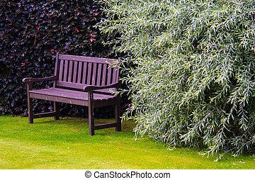 erba, panca marrone, verde, giardino