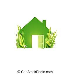erba, reale, casa, verde