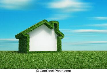 erba verde, campo, casa