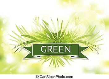 erba verde, con, primavera, astratto, offuscamento, fondo, vettore