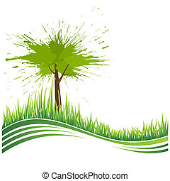 erba verde, e, albero., eco, fondo