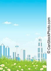 erba, verde, grattacieli