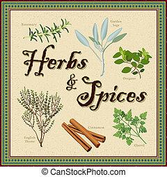 erbe, bordo, mosaico, spezie
