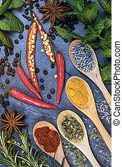 erbe, cooking., spezie, -, aroma