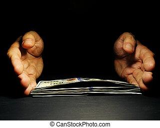 erbjudande, pengar låna, gratis, mörk, space., räcker, lån, ...