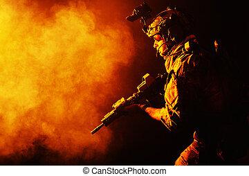 erdőőr, egyenruhába öltöztetni, hadsereg, mező