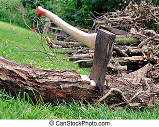 erdő, éles, -, fejsze, megragadt, alatt, egy, fa, fahasáb,...