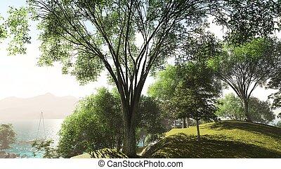 erdő, -ban, a, tó part, alatt, nyár, 3, vakolás