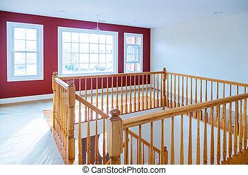 erdő, dicsekvő, lépcsőház, keményfa, korlátok, szerkesztés, floors., új családi