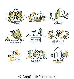 erdő, eco, épület, kellemes, állhatatos, vektor, háttér, otthon, ábra, jel, fehér, jelvény