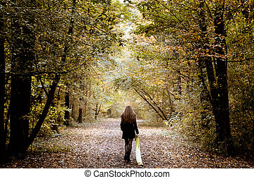 erdő, egyedül, gyalogló, nő, bús