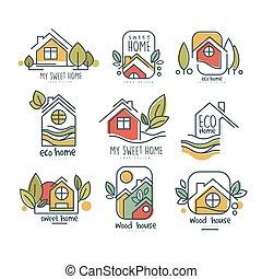 erdő, fogalom, eco, kellemes, állhatatos, vektor, háttér, jel, ábra, otthon, fehér, házam, otthon