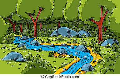 erdő, folyik
