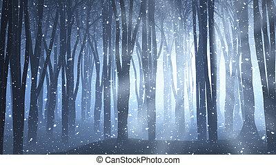 erdő, színhely, képben látható, egy, telenként, éjszakák