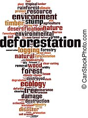 erdőirtás, felhő, szó